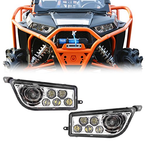 PROAUTO Chrome Auto Accessories ATV LED Headlight kit Headlamp for Polaris Razor Push 1000 by PROAUTO