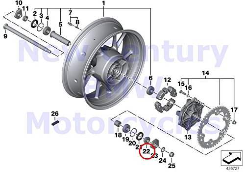 BMW Genuine Motorcycle Cast Rim Rear Spoke Wheel Rear Exterior Spacer Bushing F700GS F650GS F800GS F800R F800GS Adventure