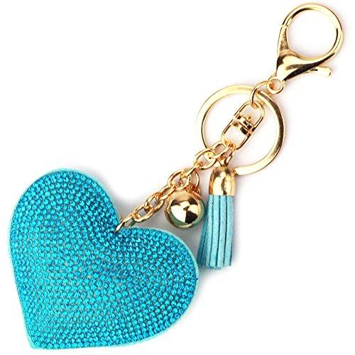 Elesa Miracle Girl Women Love Heart Tassel Keychain, Purse Bag Charm, Handbag Accessories, Car Key Chain (Blue)]()