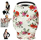 Image of High Quality Stretchy Baby Car Seat Cover, Canopy, Nursing And Breastfeeding Cover, Kutest N' Precious, Infinity Scarf, Stroller and Shopping Cart, Baby Carrier, Multifunction (Red and Pink)
