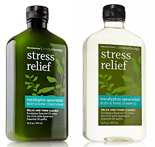 Bath and Body Works Eucalyptus Spearmint Body and Shine Shampoo and Conditioner Set 16 Ounce Each
