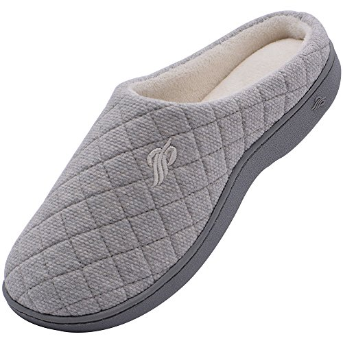 Wishcotton Women's Warm Cotton Slippers With Arch Support Winter Breathable Indoor/Outdoor House Shoes (L, Grey)