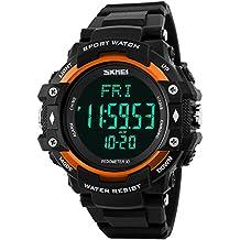 Mens Womens Multifunctional Pedometer Stopwatch Data Storage Sports Quartz Waterproof Watches Orange