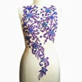 Noble Pure Handmade Beaded Crystal AB Color Patches Sew on Rhinestones with Stones Sequins Beads Applique Designs Patches Sewing for DIY Wedding Dress Trim 30x60cm (Purple)