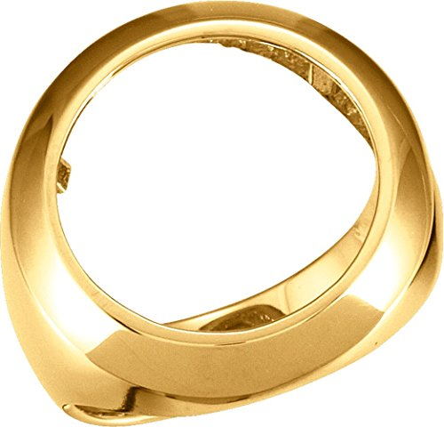 16.50 mm Men's Coin Ring Mounting in 14K Yellow Gold (Size 10) 14k Yellow Gold Mens Mounting
