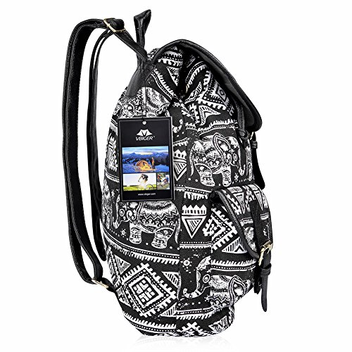 67a48e7132 Vbiger Canvas Backpack for Women   Girls Boys Casual Book Bag Sports Daypack  (Elephant Black