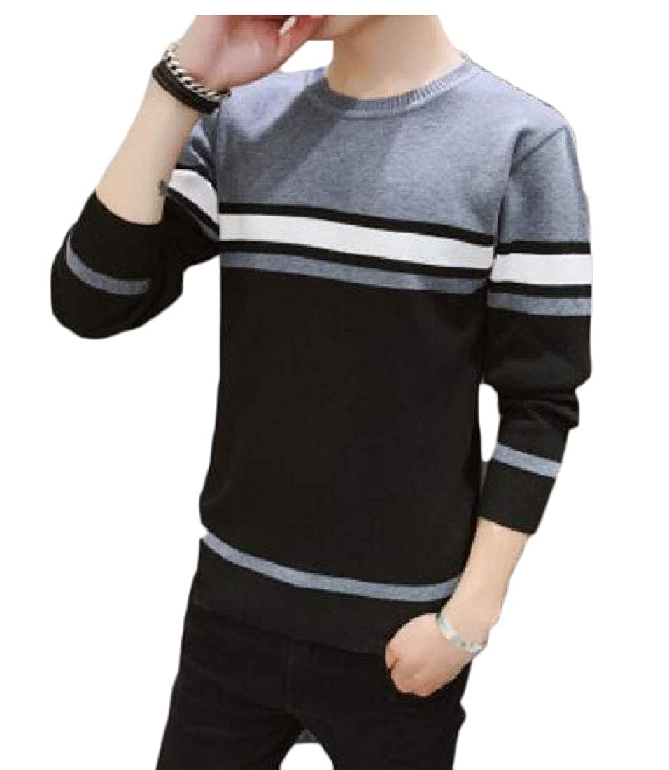 WSPLYSPJY Mens Solid Stripe Long Sleeve Winter Pullover Sweaters Top
