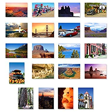 AMERICA THE BEAUTIFUL postcard set of 20. Post card variety pack depicting United States travel sites and American theme postcards. Made in USA.
