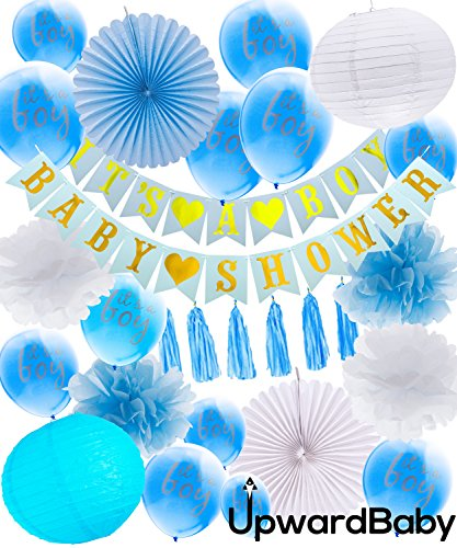 UpwardBaby Baby Shower Decorations for Boy | Complete Boy Decoration Set | Kit Includes Baby Shower Banners Its A Boy Balloons Lanterns Poms Poms Fans and Decor Tassels | Makes for The Perfect Party