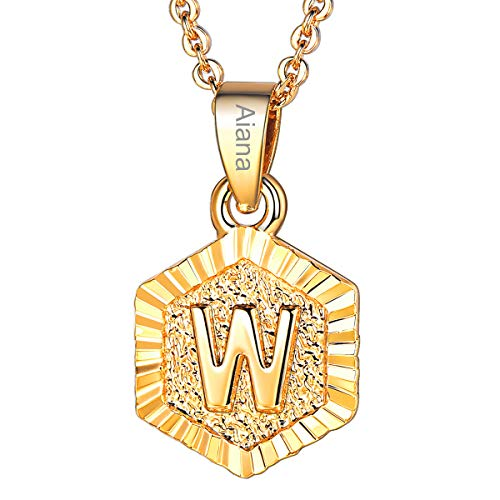 Initial Letter Pendant Necklace Girls Women 18K Gold Plated Hexagon Script Capital Initial Jewelry Stainless Steel Ajustable Chain 20 Inch Monogram Customized Name Personalized Gift(Alphabet W)