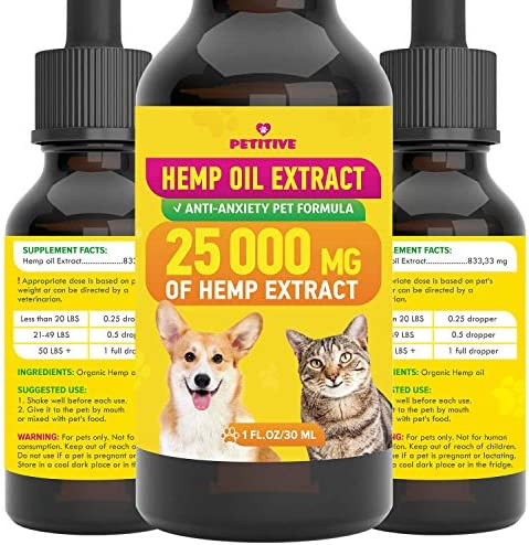 PETITIVE Pet Hemp Oil - 25 000 MG - Separation Anxiety, Pain, Stress, Relief- Supports Hip, Joint Health, Anti Inflammatory - Calming Effect Dogs and Cats - Omega 3, 6, 9