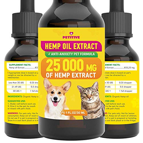 PETITIVE Pet Hemp Oil – 25 000 MG – Separation Anxiety, Pain, Stress, Relief- Supports Hip, Joint Health, Anti…