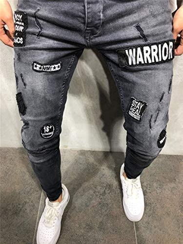 ファッションメンズジーンズタイトな黒のスリムバージョンストレッチデニムオートバイジーンズ刺繍のペンシルパンツストリートヒップホップパーソナリティパンツ,M