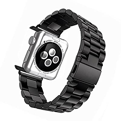 Apple Watch Band 42mm - Tevina Stainless Steel Wrist Bracelet Clasp with Milled Polishing Shiny Solid Connector Buckle Strap for iWatch