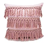 Fennco Styles Stylish Fringe Tassels Decorative Cotton Throw Pillow (Pink, 18''x18'' Case Only)