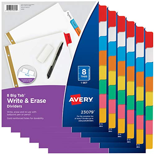 Avery 8-Tab Binder Dividers, Write & Erase Multicolor Big Tabs, 6 Sets, School Binder Organizers (23079) - - Pack 8 Tab