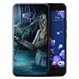 Official Elena Dudina Gel TPU Phone Case / Cover for HTC U11 / Water/Baby Design / Dragon Reptile Collection