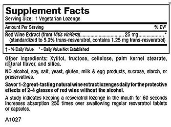 Mt. Angel Vitamins - RedRedWine Resveratrol Lozenges Highland Laboratories 120 Lozenge