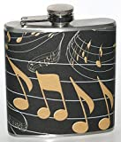 Black & Gold Music Notes Party Stainless Steel Liquor Hip Flask Gift