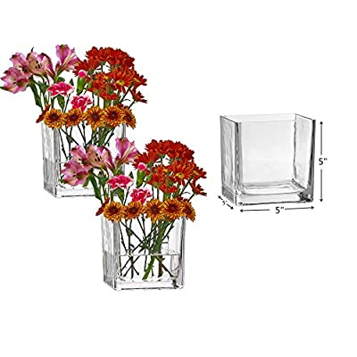 PARNOO Set of 3 Glass Square Vases 5 x 5 Inch - Clear Cube Shape Flower Vase, Candle Holders - Perfect as a Wedding Centerpieces, Home Decoration