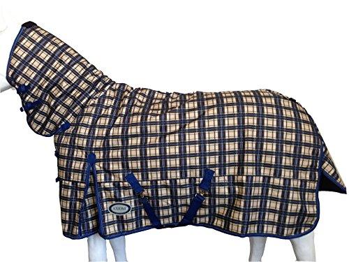 Axiom 1800D Ballistic Nylon Tartan Yellow/Navy Super Tough 300G Combo Horse Blanket - 78'