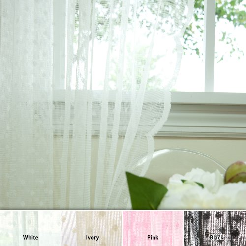 Best Home Fashion Jacquard Sheer Lace Lovely Dot Curtains - Rod Pocket - White - 58