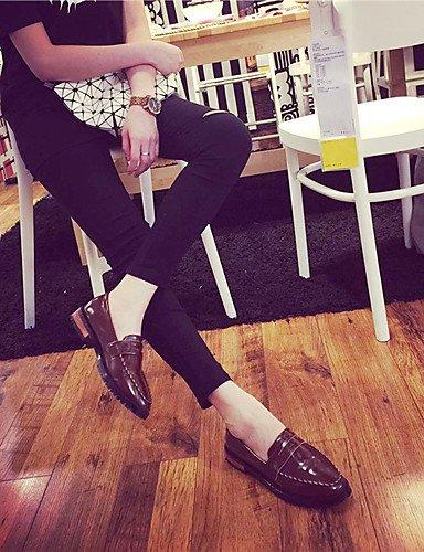Casual Plano Cuero us8 5 Black Brown Zapatos Zq 5 Exterior Eu39 Cn35 Tacón Uk3 Cn39 De us5 Eu36 Uk6 Marrón Estilos Mujer Patentado Negro Mocasines x8xIzq6