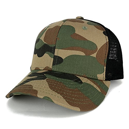 Camo Multi-Color Blank Curve Bill Adjustable Mesh Trucker Cap - WWB - Mesh Back Cap Blank