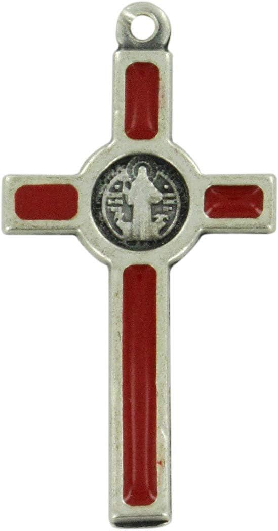 8 cm Ferrari /& Arrighetti Croce San Benedetto in Metallo nichelato con Smalto Rosso Confezione da 2 Pezzi