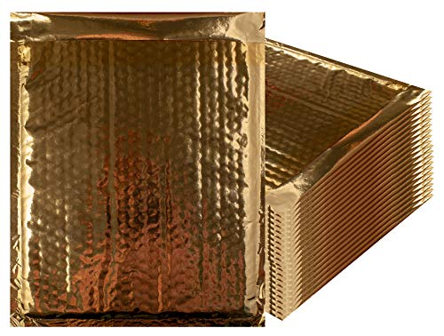 Canary Mailers - Amiff Bubble mailers 7.25 x 11 Padded envelopes 7 1/4 x 11 Pack of 25 Gold Cushion envelopes. Exterior Size 8x11 (8 x 11). Peel & Seal. Glamour Metallic foil. Mailing, Shipping, Packing.