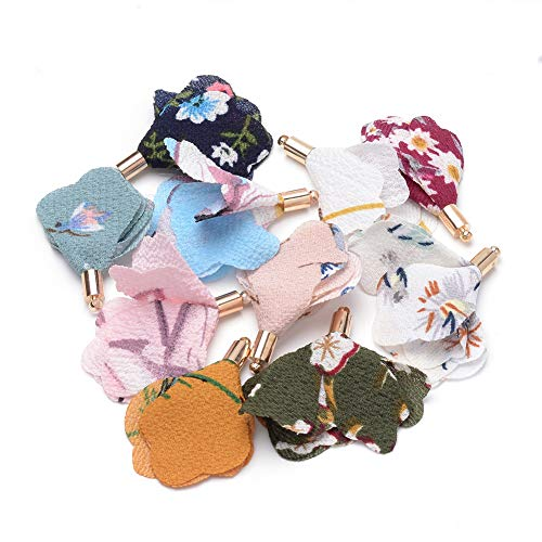 Pandahall 20pcs Handmade Flower Cloth Pendant Decorations with Alloy Golden Findings Mixed Color Flower Designed Dangle Charms for Jewelry Making Earring DIY Supplies Personalized Decoration