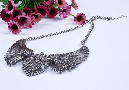 QIYUN.Z Gold Silver Tone Bling Rhinestone Angel's Wing Heart Love Pendant Chain Necklace
