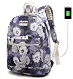 Laptop Backpack with USB Charging Port Waterproof School Bookbag Travel Backpack for 15.6 Inch (Grey Roses)