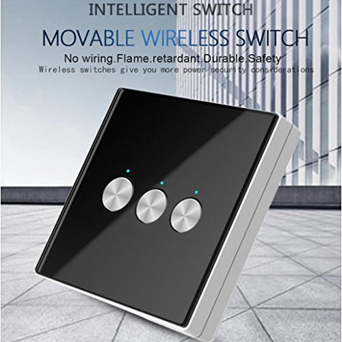 Nacome Wireless Wall Switch Lighting Control,3 x receivers,Remote Operation,Capacitive Glass Wireless Wall Switch (Black) by Nacome (Image #2)
