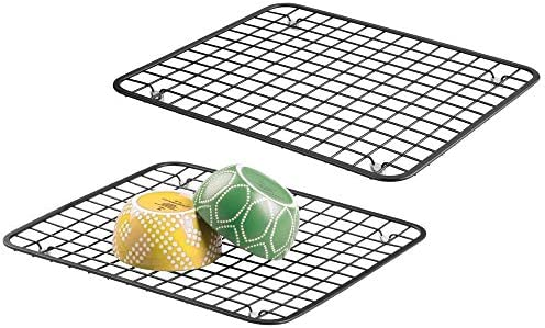 Mdesign Modern Kitchen Sink Metal Dish Drying Rack Mat Steel