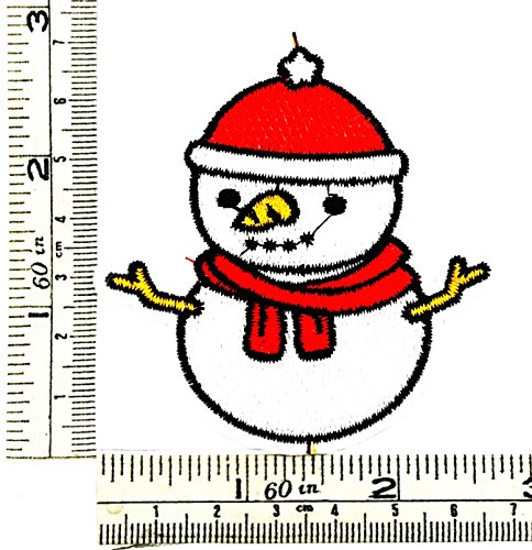 Christmas Snowman kids cartoon Patch Embroidered Iron on Hat Jacket Hoodie Backpack Ideal for Gift (Biker Snowman)