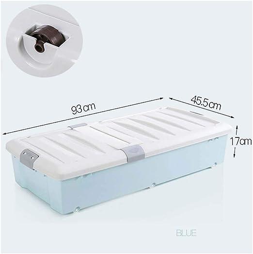 Ruedas de caja de almacenamiento debajo de la cama KEKET1 con clips Cajas de almacenamiento grandes con tapas for el dormitorio A prueba de humedad Cómodo, resistente y sin olor for medicamentos