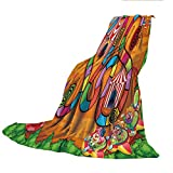 SCOCICI Super-Thick Flannel Warm Sofa or Bed Blanket,Board Game,Carnival in Town Circus Characters Tents Ferris Wheel Ride Route Curves Forest,Multicolor,39.37' W x 59.06' H