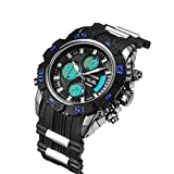 SPOTALEN Men's Sports Waterproof Watch, Military Multifunction with Digital Analog Display in Black Band