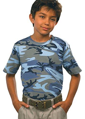 Code V Big Boys Camouflage Ribbed Crewneck T-Shirt, Blue Woodland, - Jersey Ribbed Woodland