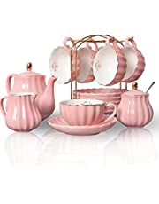 Porcelain Tea Cup Set Royal Series, 8 OZ Cups Service for 6, with Teapot Sugar pot Teaspoons and Filter for Tea/Coffee Party, Pukka Home …
