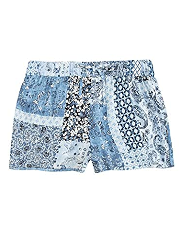 FULL TILT Patchwork Girls Shorts, Blue Combo, Medium - Blue Patchwork Shorts