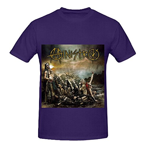 Sateen Oxford (Ministry From Beer To Eternity Greatest Hits Mens Crew Neck Design Shirts Purple)