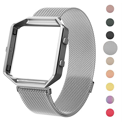 CRODI Compatible Fitbit Blaze Bands New Metal Frame, Stainless Steel Magnetic Milanese Replacement Band Fit bit Blaze Women Men (Silver(Gap Frame), S: 5.5 - 8.8)