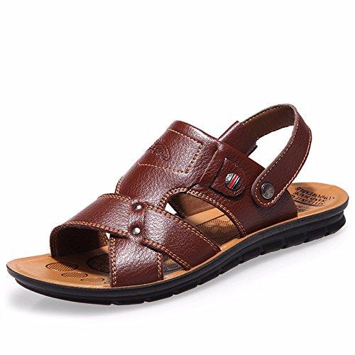 estate Il nuovo vera pelle sandali Uomini Tempo libero scarpa vera pelle Spiaggia scarpa Uomini sandali Antiscivolo ,Marrone ,US=9,UK=8.5,EU=42 2/3,CN=44