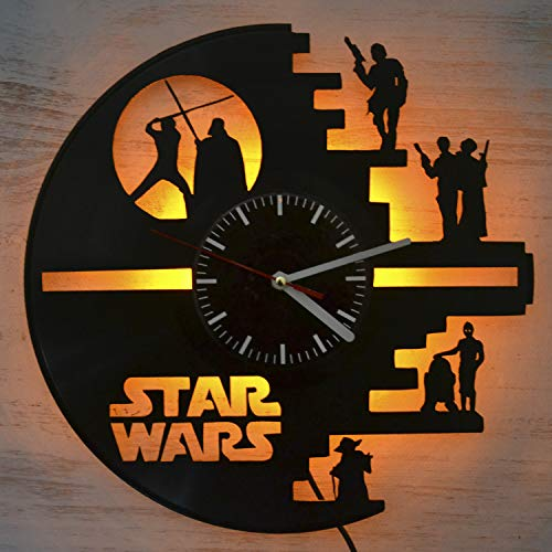 Star Wars Death Star Design LED Light Vinyl Record Wall Clock - Modern Room Interior - The Best Gift Decoration - Beautiful Wall Clock for Your Home - Unique Art Wall Decoration