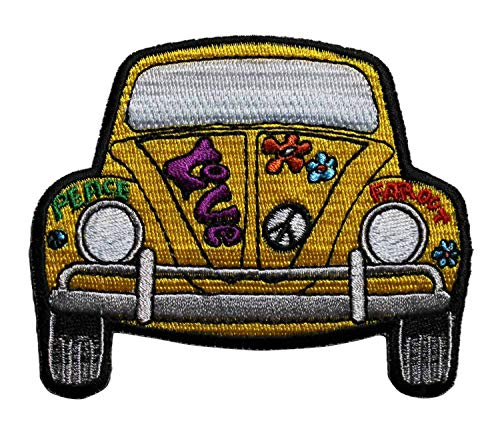 Embroidery Patch VW Bug Beetle Peace Sign Love Far Out Hippie 3 1/2