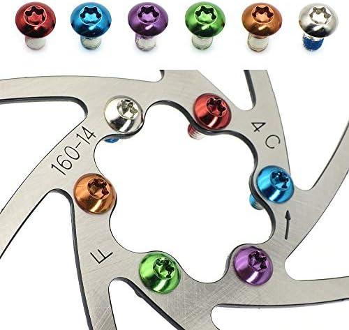 [スポンサー プロダクト]LANODO 12個 M5x10mm マウンテンバイク 自転車 サイクリング ブレーキディスクネジ 合金ボルトローター(ゴールド、シルバー、レッド、ブラック、ブルー、グリーン、オレンジ、パープル、12個同じ色セット)