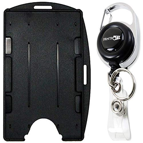 Retractable lD Badge Holder Rigid - with Carabiner Reel - Dual 2 Sided Open face Multi Card Holds Two ID Cards - Best for Both Vertical and Horizontal use (Black)