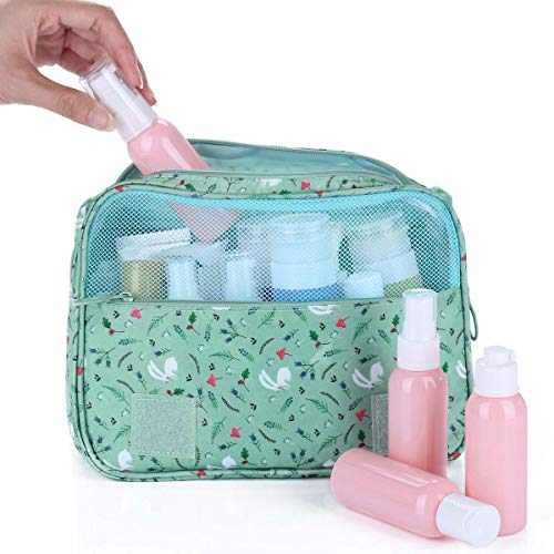 Multifunctional Make up Bag Brush Pouch Storage Toiletry Wash Bags Travel Cosmetic Bags Portable Travel Makeup Case Organizer For Women Girls Lady (Green) by Tbestmax (Image #2)
